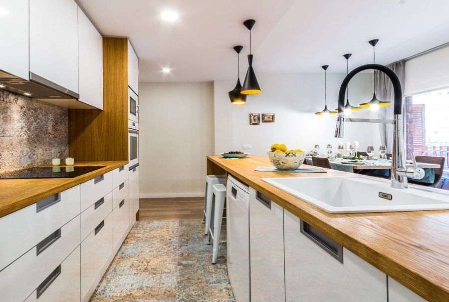 madera en la cocina