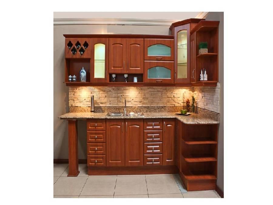 mueble de cocina de maderas nobles de roble y cubierta de granito