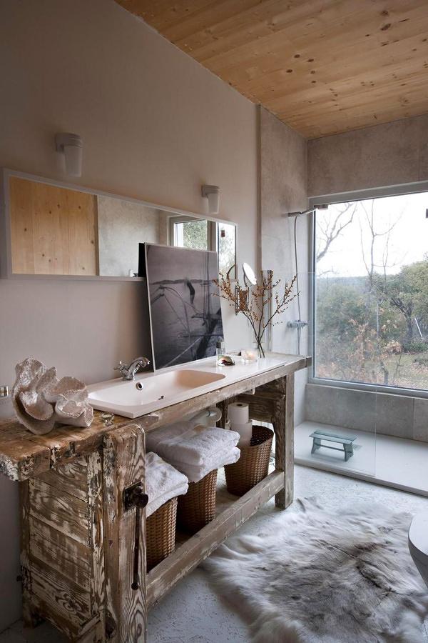 Mueble Baño Original:Los Baños Rústicos y el Encanto de lo Natural