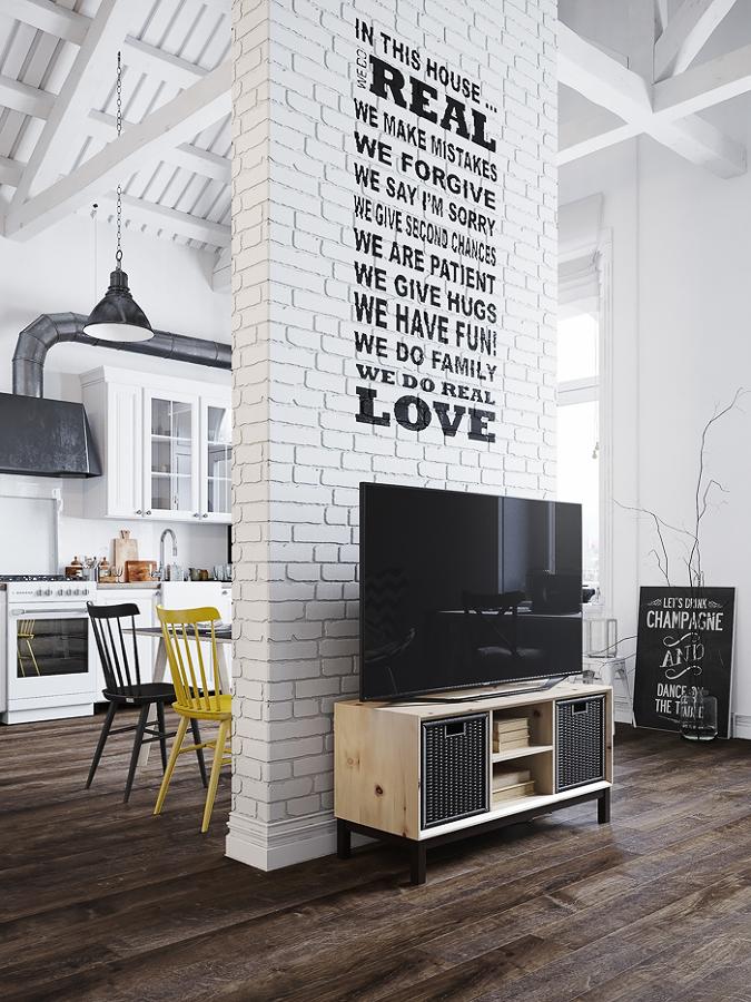 Muro separador entre cocina y living