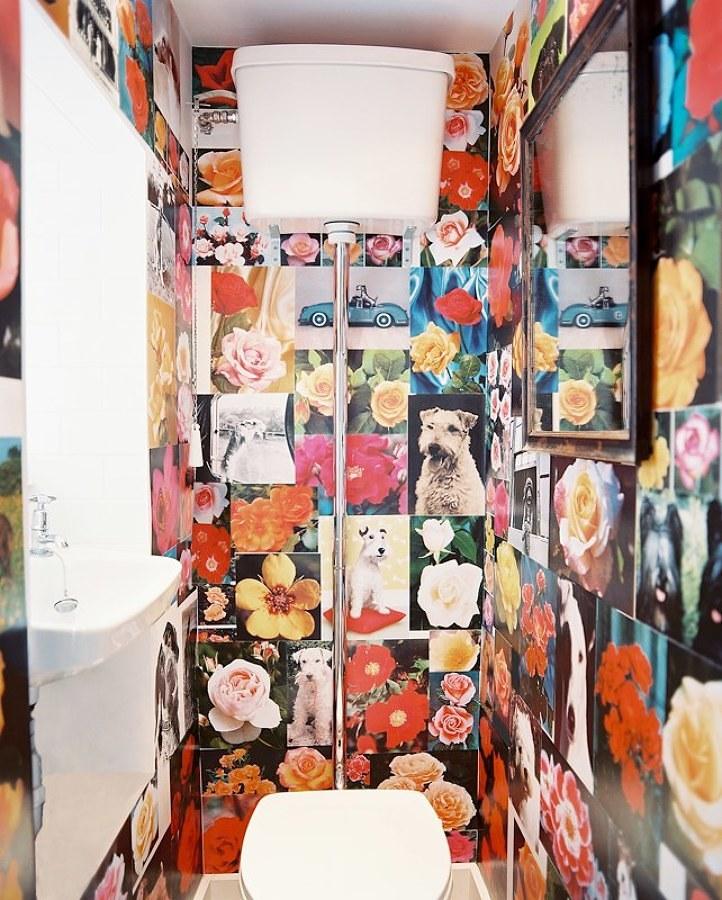 Papel pintado en baño