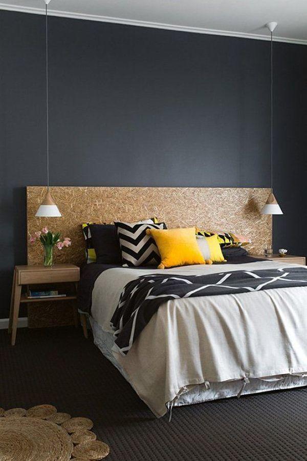 Muro negro en dormitorio
