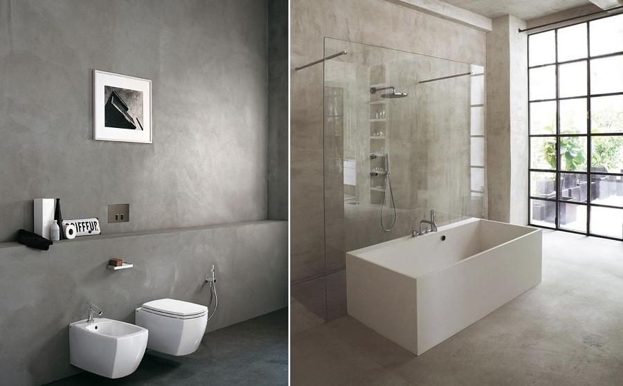 Foto paredes cemento con ba era blanca 112551 habitissimo - Paredes de microcemento ...