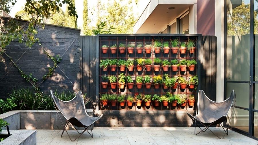 jardín urbano con plantas