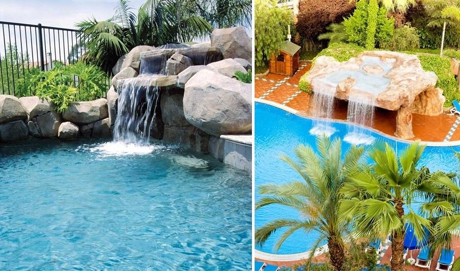 Cascadas para piscinas cuando la belleza y la salud van for Cascadas artificiales de agua para piscinas