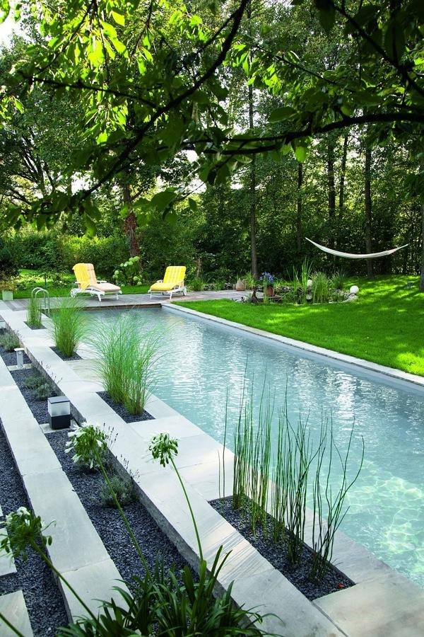 Piscina con jardín