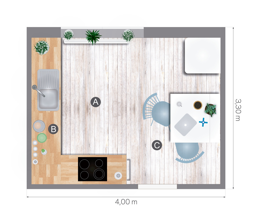 Foto plano cocina 02 169556 habitissimo for Plano de cocina de 9m2
