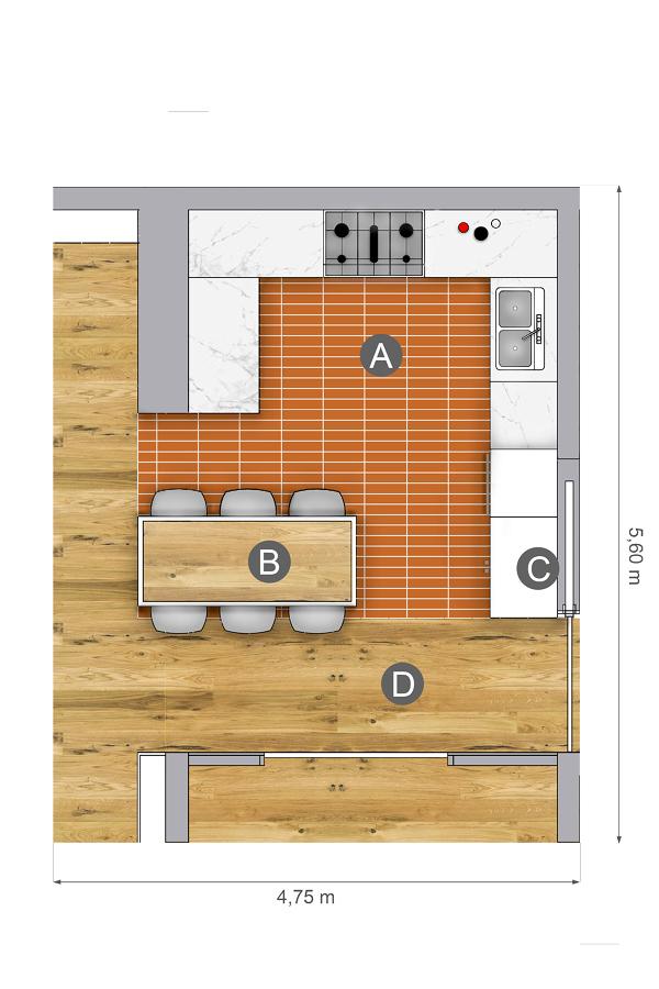 Foto plano cocina suelo de cer mica 186467 habitissimo for Plano cocina con isla