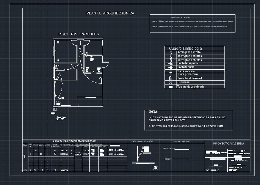 Plano eléctrico vivienda 55m2