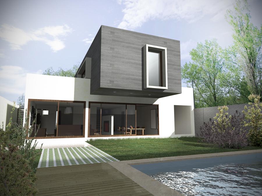 Foto render materialidad exterior de arquifacility for Arquitectura minimalista imagenes