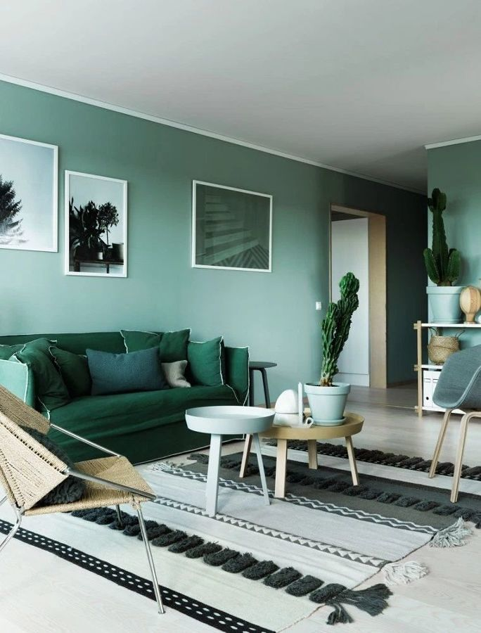living-con-pared-verde