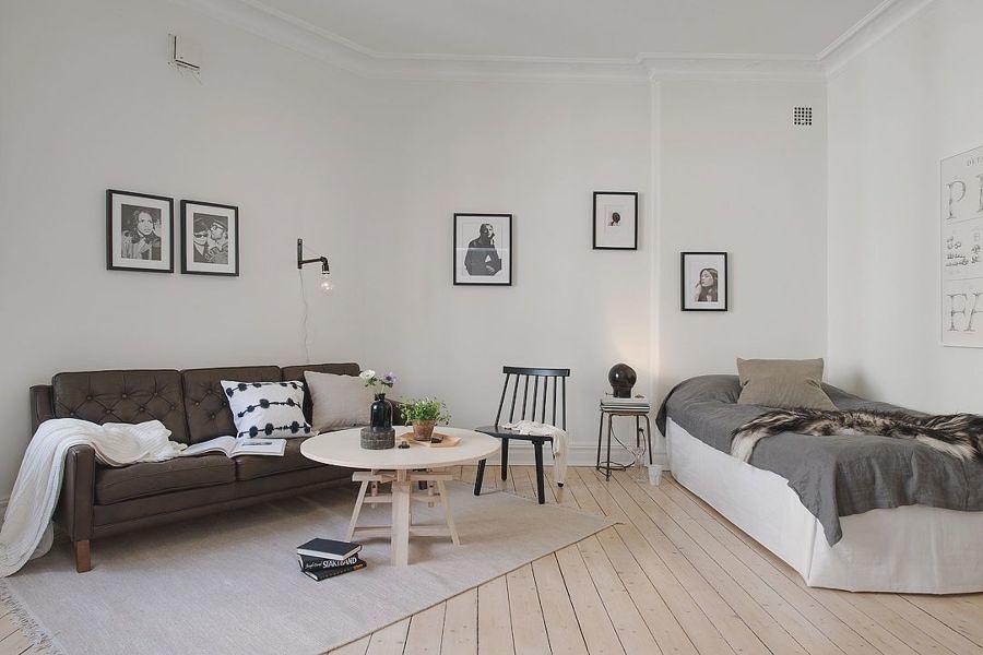Living dormitorio en tonalidades grises