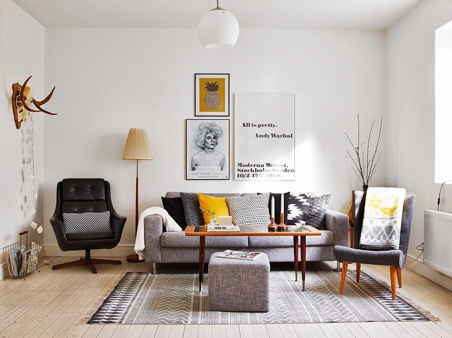 Living en tonos amarillos y grises