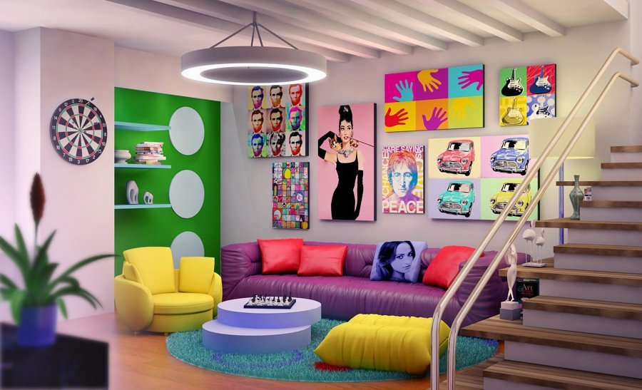 Salón estilo pop art
