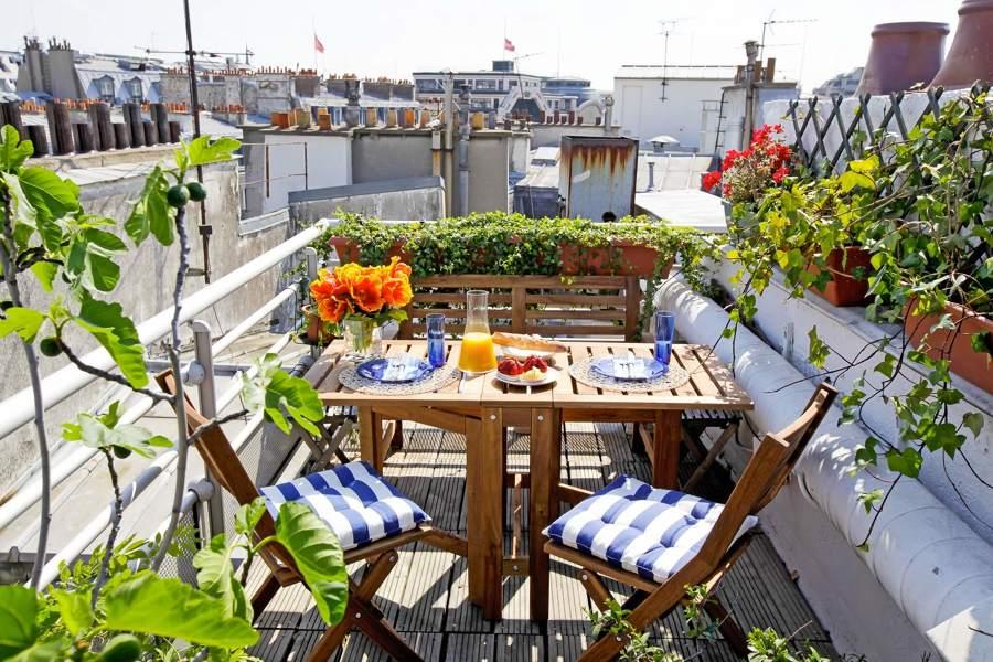 terraza con mobiliario exterior