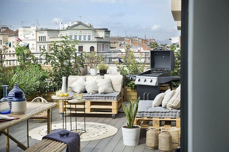 Terraza con piso de madera