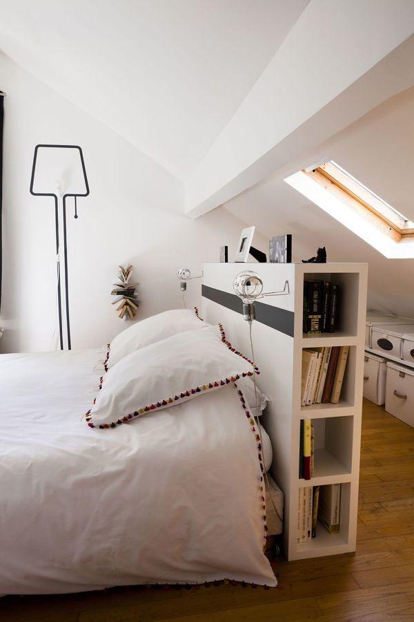 Respaldo-estantería en dormitorio