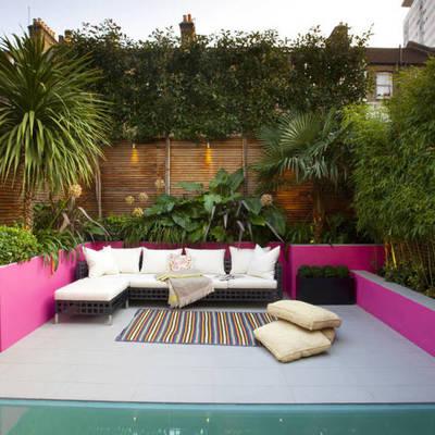 terraza con palmeras