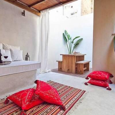 terraza con piso de microcemento