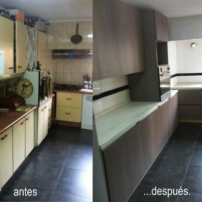 Asombroso Cocina Cocina Remodelación Antes Y Después Bandera - Ideas ...