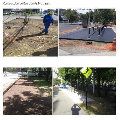 Construcción de estaciones de bicicletas.