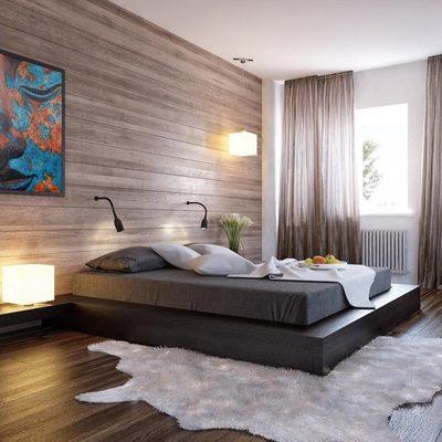 Dormitorio revestido en madera
