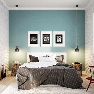 Dormitorio en verde con papel mural