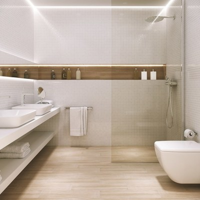 ducha con suelo de baldosa