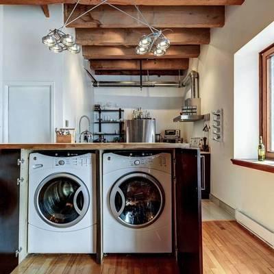 lavadora en isla de cocina