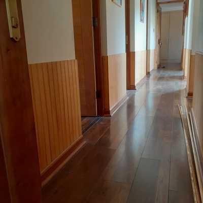 Tratamiento de humedad e Instalacion de revestimiento en madera muros Interiores de casa.