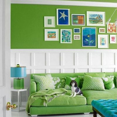 pared verde en living