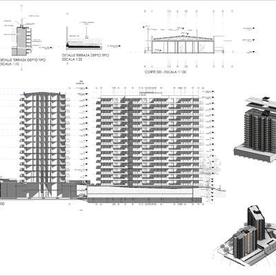 Planos y render de interior de edificio