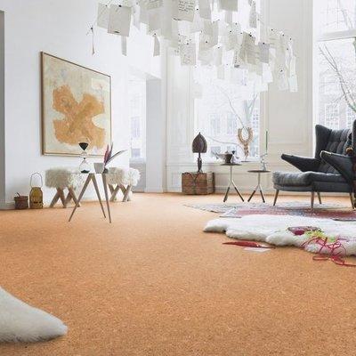 Living con piso revestico de corcho