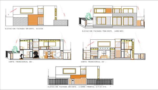 Foto elevaciones fachadas y cortes proyecto casa bl for Plantas arquitectonicas de casas
