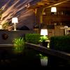 Terraza con lámparas