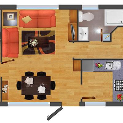 Construir casa prefabricada 3 dormitorios cerro navia for Dormitorio y cocina