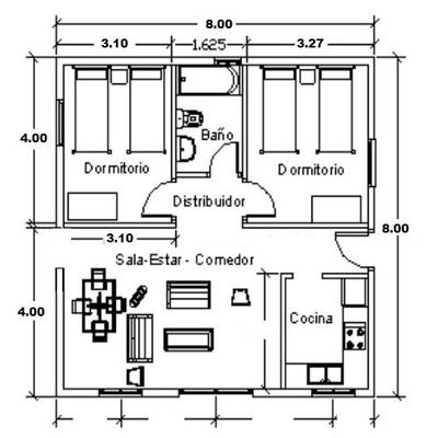 planos de casas de dos pisos de 8x8